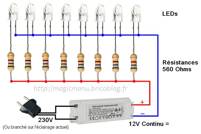 comment a marche du 230 volts la led. Black Bedroom Furniture Sets. Home Design Ideas